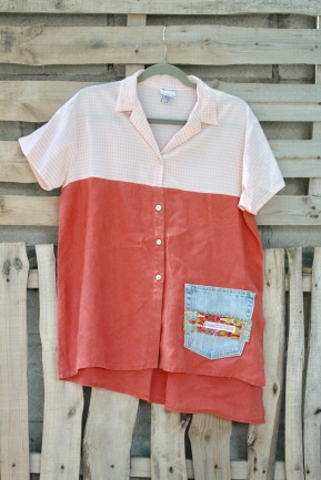 #0068 . Coral and denim Pocket of Possibilities. Soft cotton, and washed linen mix. Casual fun wear! $30 Buy here: BUY ME!