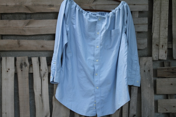 Blue cotton man shirt turned peasant shirt$30 BUY ME!