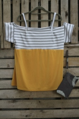 Off the shoulder gray and white stripe with yellow bottom $45 BUY ME!