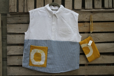 white top, sleeveless . blue and white stripe yellow pocket $ 45 BUY ME!