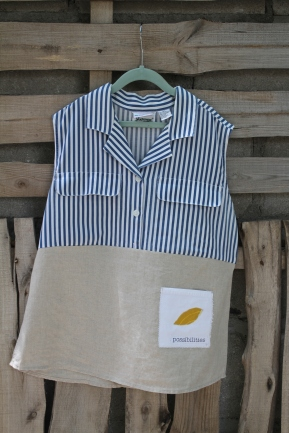 blue stripe top linen bottom yellow leaf patch Size Med.$ 45 BUY ME!