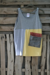 Gray tank with yellow and big man pocket Med- Lg $30 BUY ME!