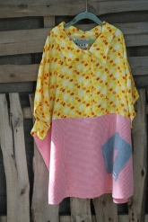 Easy fitting happy yellow top with coral check bottom and denim Hope patch! Lg - XL . $ 45 BUY ME!