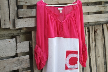 This pink looks good on everyone! Peasant top with sweetheart buttons and hand dyed batik pocket on white! Med-Lg.$ 45 Buy here: BUY ME!