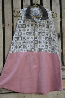 Thick cotton Gray white patterned top with a cotton soft pink bottom and brown peter pan collar! Back button bottom for adjustable fit! Click here to purchase! BUY ME!