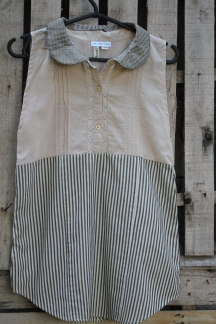 Petite sleeveless Mocha top with stripe bottom, peter pan collar Child Size 8 - 10 $25 Click here to purchase! $25 BUY ME!