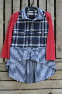For cool fall weather! Blue flannel red sleeved top with blue striped high low bottom, Peter Pan collar! Click here to purchase! BUY ME!