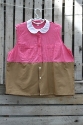 Loose fitting cool blouse! Bright pink sleeveless top, white Peter Pan collar connected to a man's cotton caramel brown bottom. $30 Click here to Purchase: $30 BUY ME!