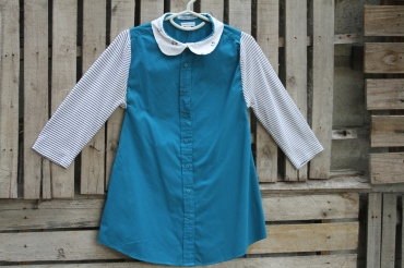 We started with a cotton men's turquoise shirt exchanged the sleeves with these knit cotton 3 /4 sleeves and added a teddy bear peter pan collar. Click here to purchase: $30 BUY ME!